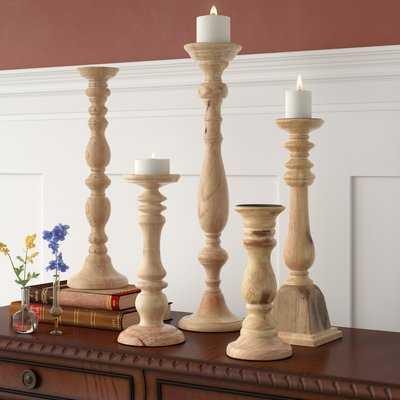 5 Piece Turned Wood Candlestick Set - Birch Lane