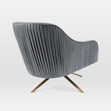 Roar + Rabbit Swivel Chair, Heritage Leather, Verdant, Antique Brass - West Elm