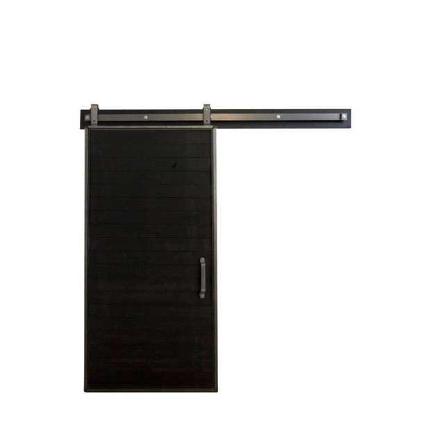 Rustica Hardware 36 in. x 84 in. Mountain Modern Matte Black Wood Barn Door with Mountain Modern Sliding Door Hardware Kit - Home Depot