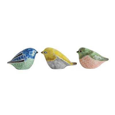 Astaire Stoneware Hand-Painted Bird 3 Piece Figurine Set - Wayfair