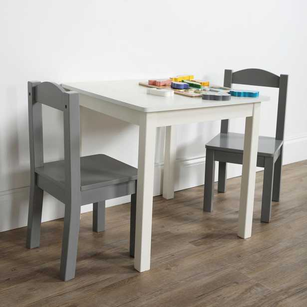 Inspire 3-Piece White/Grey Kids Square Table and Chair Set - Home Depot