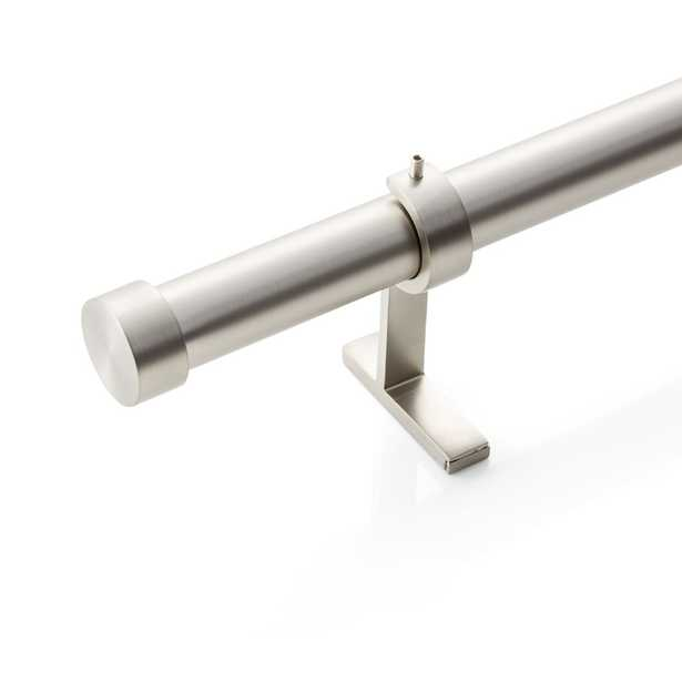 """CB Brushed Nickel End Cap Finial and Curtain Rod Set 48""""-88"""" - Crate and Barrel"""