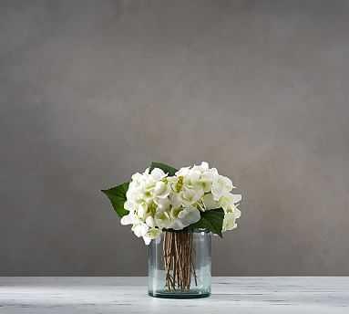 Faux White Hydrangea Arrangement in Glass Vase - Pottery Barn