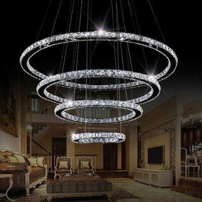 Drown 4 Rings 1-Light LED Crystal Chandelier - Wayfair