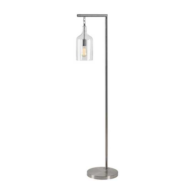 Kenroy Home Capri 61 in. Brushed Steel Floor Lamp with Clear Glass Shade - Home Depot