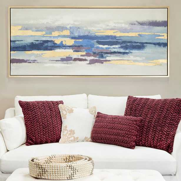 Litton Lane Blue and Gold Abstract Framed Canvas Wall Art - Home Depot