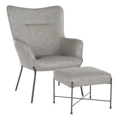 """Tedeschi 28.5"""" W Faux Leather Lounge Chair and Ottoman - Wayfair"""