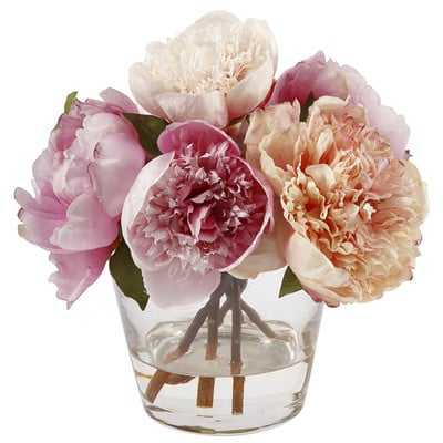Peonies Floral Arrangement in Glass Vase - Birch Lane