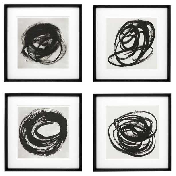 Eichholtz Modern Classic  Set of 4 Black & White Abstract Wall Art Prints - I - Kathy Kuo Home