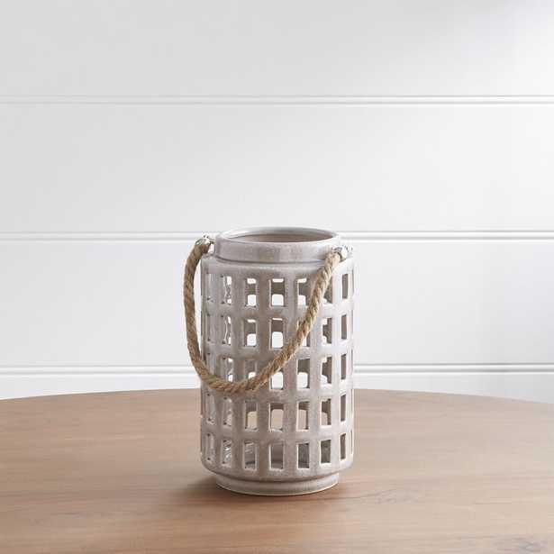 "Peek 9"" Light Grey Ceramic Lantern - Crate and Barrel"