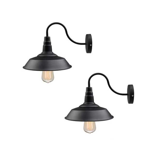 LNC 1-Light Black Gooseneck Farmhouse Lighting Barn Sconce (2-Pack) - Home Depot