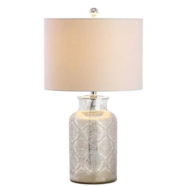 JONATHAN Y Emilia 24.5 in. Mercury Silver Trellis Pattern Glass Table Lamp - Home Depot