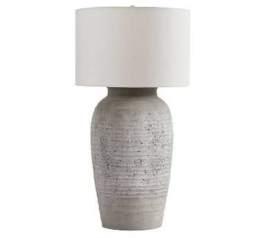 """Maddox Tall 34"""" Table Lamp, Rustic Gray Base With X-Large Gallery Straight Sided Drum Shade, White - Pottery Barn"""
