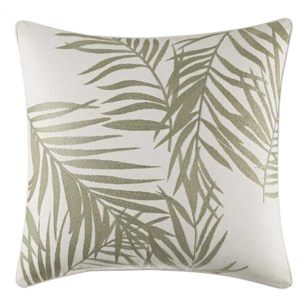 Palms Away Leaf Embroidery 16 in. x 16 in. Throw Pillow, Light Beige - Home Depot