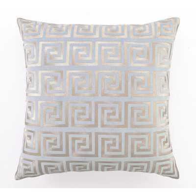 Embroidered Greek Key Linen Throw Pillow - Wayfair