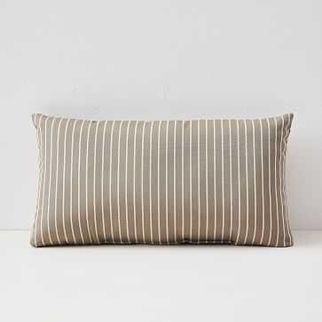 "Sunbrella Indoor/Outdoor Striped Lumbar Pillow, Taupe, 12""x21"" - West Elm"
