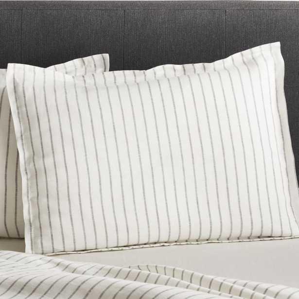 Linen Wide Stripe Warm White Standard Pillow Sham - Crate and Barrel