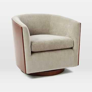 Luther Swivel Chair, Worn Velvet, Light Taupe - West Elm