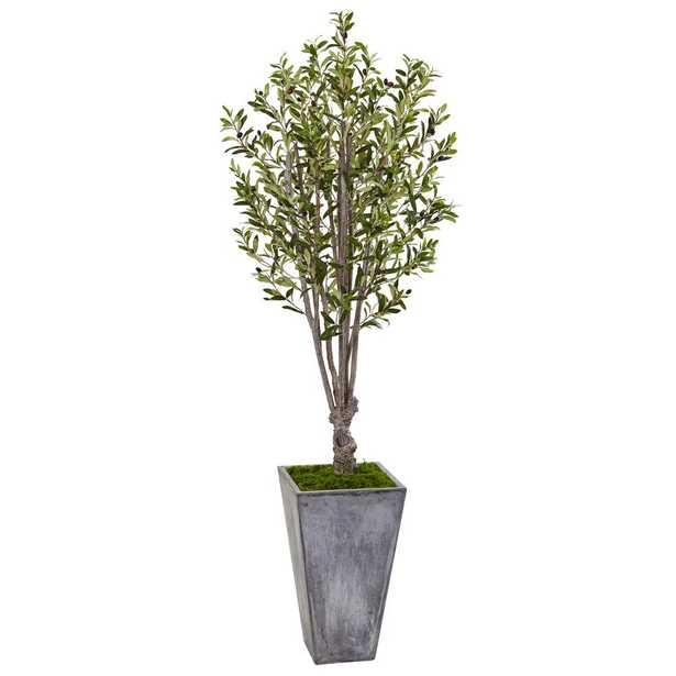 Indoor Olive Artificial Tree in Stone Planter - Home Depot