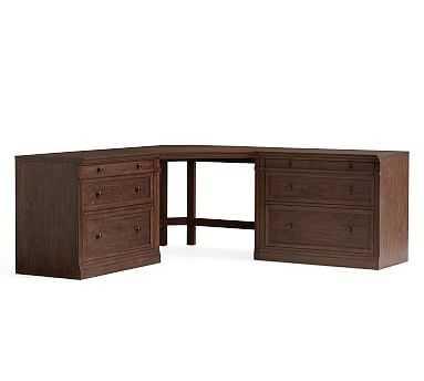 Livingston Large Corner Desk, Brown Wash - Pottery Barn