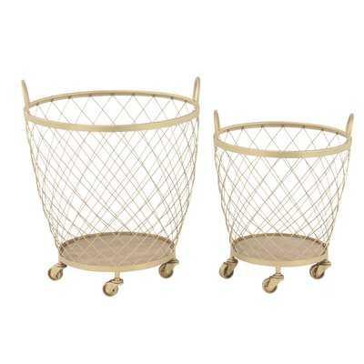 Modern Diamond Weave Round Basket Set with Wheels - Wayfair