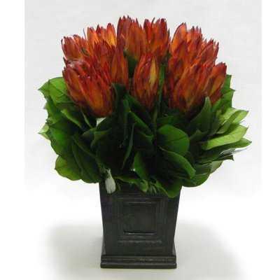 Protea Floral Centerpiece Wooden Mini Square Planter with Inset - Birch Lane