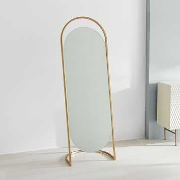 Folded Ellipse Standing Mirror, Antique Brass - West Elm