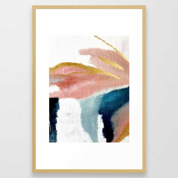 Exhale: a pretty, minimal, acrylic piece in pinks, blues, and gold Framed Art Print by Blushingbrushstudio 26x38 - Society6