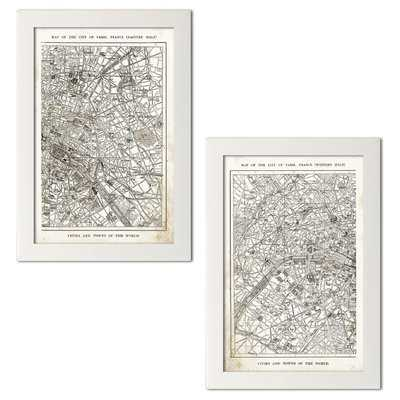 'Old Fashioned Paris France City and Street Map' 2 Piece Graphic Art Print Set - Wayfair