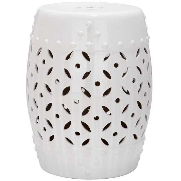 Safavieh Lattice Coin White Ceramic Patio Stool - Home Depot
