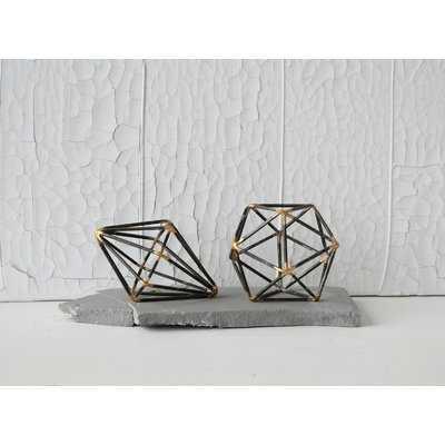 Wilken Metal Geometric 2 Piece Orb Set - Wayfair