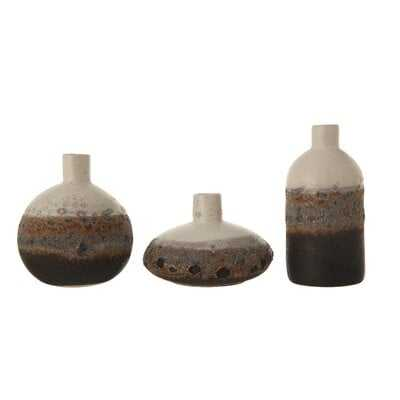 Textured Brown & White Stoneware Vase with Ombre Reactive Glaze Finish (Set of 3 Sizes) - Wayfair