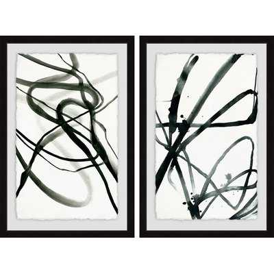 'Toxic Lines Diptych' 2 Piece Framed Print Set in Black/White - AllModern