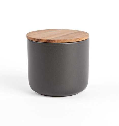 Black Large Canister with Wood Lid - Rejuvenation