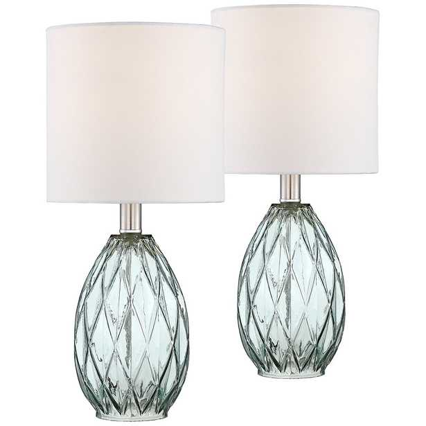 Rita Blue-Green Glass Accent Table Lamp Set of 2 - Style # 44G02 - Lamps Plus