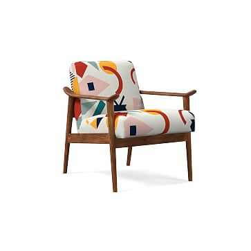 Midcentury Show Wood Chair, Poly, Shape Collage, Multi, Espresso - West Elm