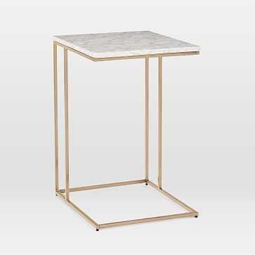 Streamline C-Side Table, Marble, Light Bronze-individual - West Elm