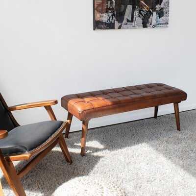 Aaron Leather Bench - Wayfair