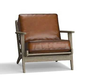 Raylan Leather Armchair, Down Blend Wrapped Cushions, Burnished Bourbon - Pottery Barn