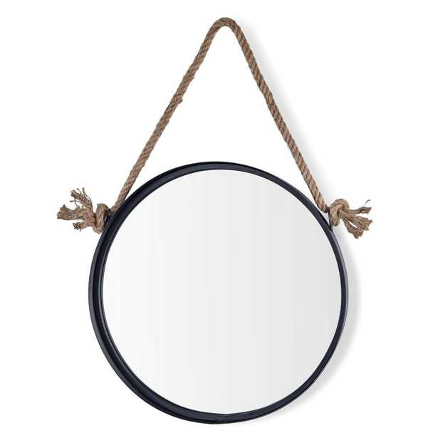Danya B Newport Black 18 in. Round Mirror with Hanging Rope - Home Depot