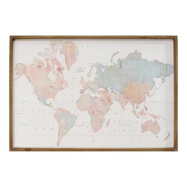 Stratton Home Decor Watercolor World Map Print Wall Art, Multi - Home Depot