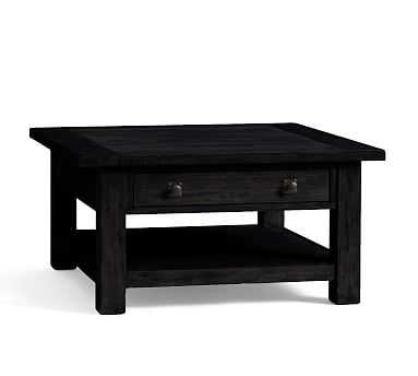 Benchwright Square Coffee Table, Blackened Oak - Pottery Barn