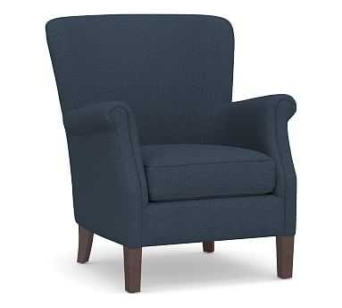 SoMa Minna Upholstered Armchair, Polyester Wrapped Cushions, Brushed Crossweave Navy - Pottery Barn