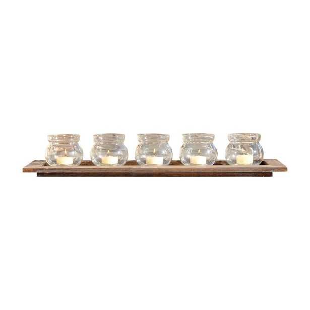 Beachwood 4 in. x 23 in. Natural Wood and Clear glass Candle Holder, Brown/Tan - Home Depot