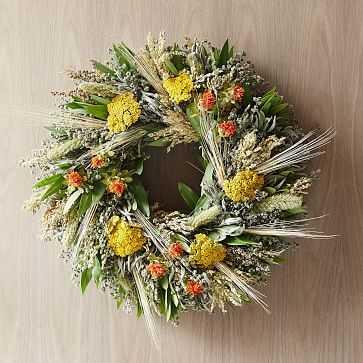 """Fall Safflower Wreath, 20"""" - West Elm"""