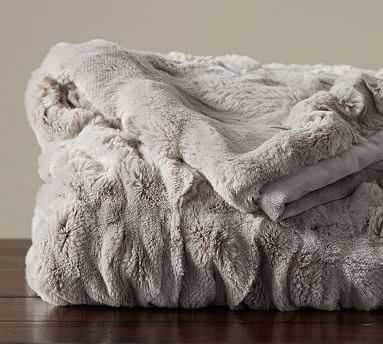 """Faux Fur Ruched Throw, 50 x 60"""", Gray - Pottery Barn"""