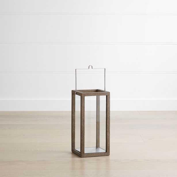 "Crosby 15"" Grey Teak Lantern - Crate and Barrel"