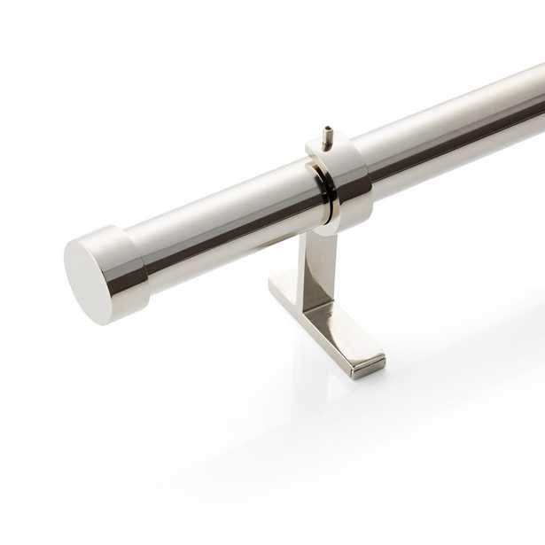 """CB Polished Nickel End Cap Finial and Curtain Rod Set 24""""-48"""" - Crate and Barrel"""