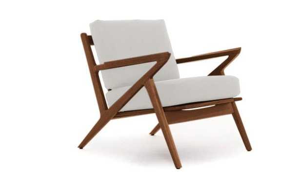 White Soto Mid Century Modern Concave Arm Chair - Merit Snow - Walnut - Joybird
