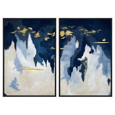 Blue & Gold Abstract' Framed Print Set - Wayfair